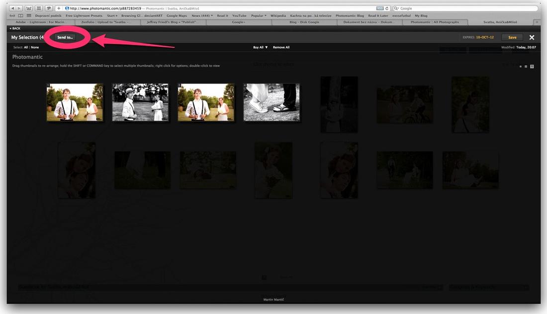zaslání vybraných fotek na fotografa, Photomantic